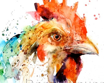 CHICKEN Watercolor Print by Dean Crouser