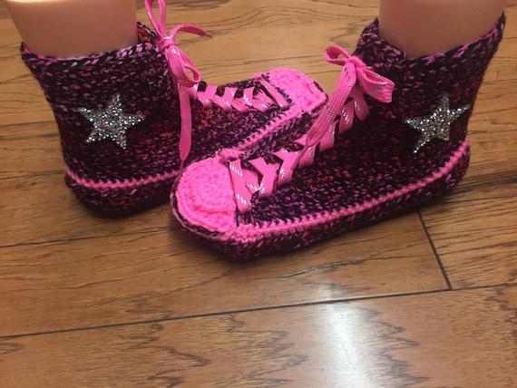 tennis 8 top converse pink converse slippers crocheted slippers high Women top 216 sneaker Crocheted 10 converse crochet converse shoe high T1qCEOw1x7
