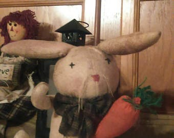 Completely handmade primitive bunny with carrot