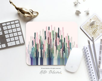"Cacti Mousepad ""Cacti Stripe"" by Iveta Abolina Mousepad Mouse Mat Desert Cacti Mouse Pad Office Mousemat Mousemat Mousepad Round 78."