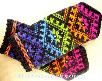 Rainbow Wool Mittens Rainbow Wool Gloves Hand Knitted Mittens Knitted Gloves Warm Mittens Winter Gloves Patterned Latvian Mittens Gift idea