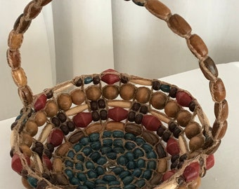 Multi-colored wood bead basket with handle