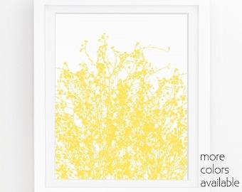 Yellow art, yellow flower print, gold wall art, wildflower print, floral wall decor, kitchen printables, cottage chic 5x7, 8x10, 11x14  243b