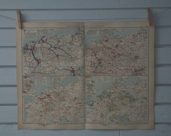 1906 Vintage Traffic & Industry Map of Central Europe