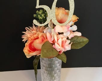 Any Number Centerpieces, 50th Birthday Centerpieces, Gold Glitter Number Centerpiece, Birthday Party Centerpieces