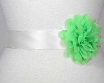 Light Green Bridal Sash, Wedding Belt, Bridal Belt, Flower Girl Dress Sash, Bridesmaid Belt, Satin Sash, Simple Wedding Dress Sash Belt POSY