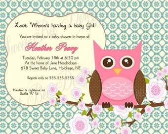 Baby Shower Invitation, Owl Baby Shower Invitation, Owl Birthday Invitation, Owl Bridal Shower Invitation - Custom Printable