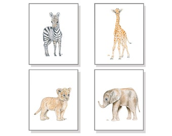 Safari Nursery Decor Safari Nursery Wall Art Safari Nursery Art Prints Baby Art Children Art Watercolor Elephant Giraffe Zebra Lion Set of 4