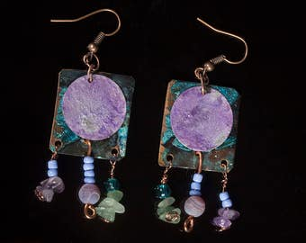 Copper  and brass earrings with blue and purple patina and aventurine plus amethyst beads