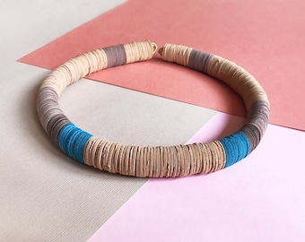 Paper choker, paper jewelry, necklace made of sable and blue color paper and rubber, sea colors, minimalist, contemporary, gift for her