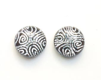 Silver & Black Fused Dichroic Glass Stud Earrings, 12mm Cabochons, Cabs, Hypoallergenic Surgical Steel Posts, Jewelry, Stunning