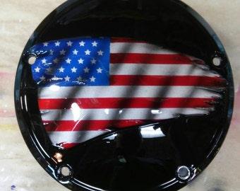 3D American flag Harley Davidson derby clutch cover
