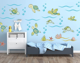 Sea Turtle Wall Decals, Ocean Wall Decals, Turtle Wall Decals, Turtle Nursery, Turtle Kids Room Decor, Turtle Theme Wall Art, Ocean Nursery