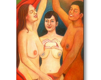 Metal Print The Three Graces Contemporary Nude Art Print by Deenie Wallace