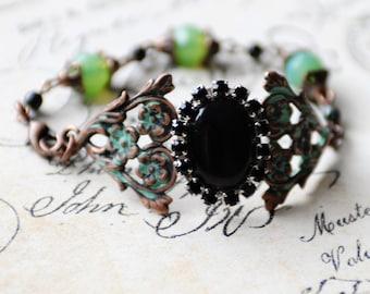 Black Floral Cuff Bracelet, Handmade Bracelet, Vintage Style Jewelry, Verdigris Jewelry, Filigree Bracelet, Black and Green Cuff, SRAJD