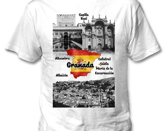 Granada Spain - Man new cotton white t-shirt