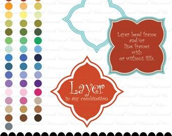 Clip art frame clipart digital square photo frame digital clip art layers : e0129 v301 black white