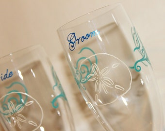 Sand Dollar Toasting Flutes Champagne Glasses Beach Seaside Wedding Bride Groom Mr. Mrs. Personalized Custom Aqua Sea Glass Blue Beige Ivory