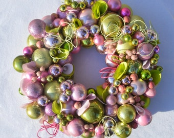 Luxury Christmas Wreath Green Wreath Pink Christmas Wreath Large Christmas Wreath Elegant Christmas Wreath