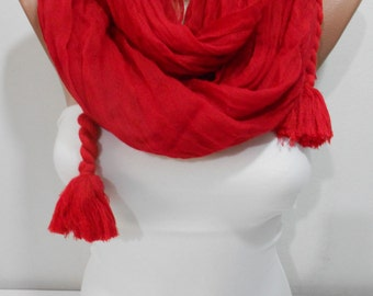 Clothing Gift Cotton Scarf Red Scarf Tassel Scarf Winter Scarf Travel Gift   Mothers Day Gift For Her For Mom For Wife