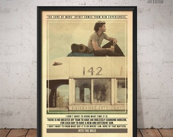 Into the Wild Poster - Quote Retro Movie Poster - Movie Print, Film Poster, Wall Art