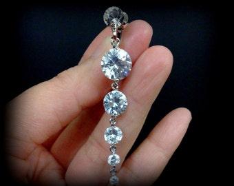 Clip On Wedding Earrings, Cz Bridal Earrings, Screw Back Earrings, Silver Wedding Jewelry, Clipon Dangle Bridal Jewelry, Gift for Her, GRACE
