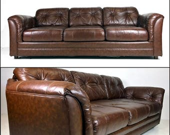 Vintage Leather Tufted Sofa   SOLD