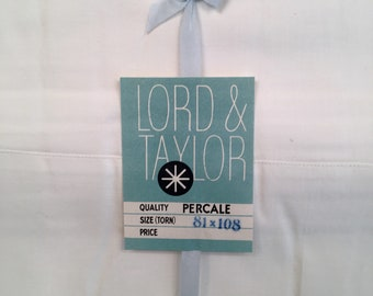 Vintage Percale Cotton Sheet - Lord and Taylor - Full Double Flat Sheet - New Old Stock - Unused Vintage Bedding   - All White Bed - 1940s