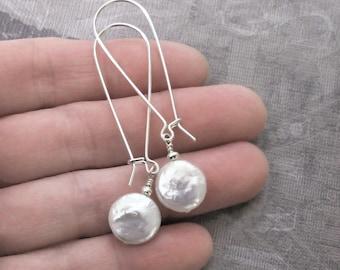 White Coin Pearl Earrings Moon Sterling Silver Long Hoop Drop DJStrang Bridal Boho Chic Wedding