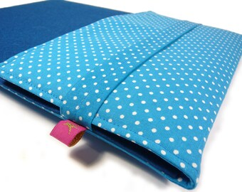 Laptop bag - Tabletsleeve with dots in petrol by marengu