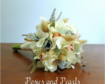 """Petite Beach Wedding Bouquets, Ivory, Tan, Peachy Pink, Blue Green Silk and Dried Flowers with Sea Glass, Raffia, """"Seaside"""""""