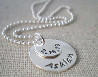 name and date mothers necklace, stacked sterling silver discs, push present for new mom, malisay desgins hand stamped sterling silver