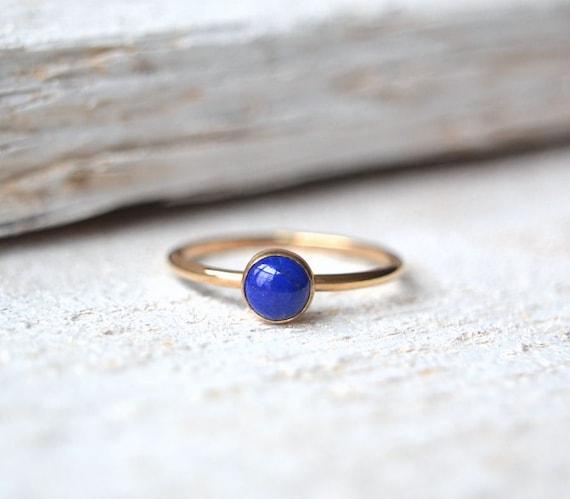 Lapis Lazuli Ring Lapis Lazuli Gold Ring Stacking Ring