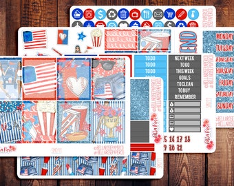 American Pastime/ July 4th Planner Sticker Kit, for use in Erin Condren Life Planners, Happy Planner Sticker Kit, RWB Planner Stickers SM011