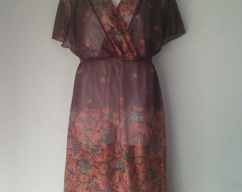 Vintage Sheer Maroon Floral and Fruit, Short Sleeve, Mid Length Dress Women's Plus Size 18
