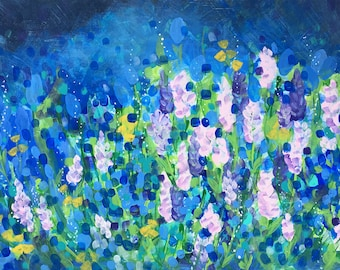 Abstract florals, original large painting, acrylics on canvas