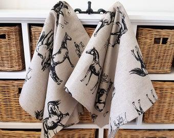 Handmade Linen Cotton Horse Racing Tea Towels Kitchen Towels Dish Towels.
