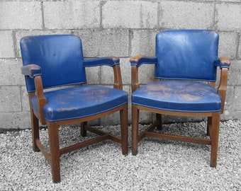 1950s Mid Century Oak Vintage Blue Chairs Seat