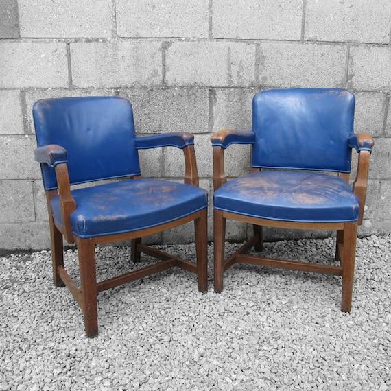 1950s Mid Century Oak Vintage Blue Chairs Seat
