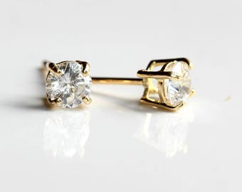 9ct Gold Cubic Zirconia Stud Earrings - 9ct Gold Diamond Earrings - Yellow Gold Round Stud Earrings 4mm - FREE TRACKING B55