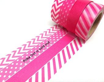 Hot Pink Stripes - Hot Pink Chevron - Solid Hot Pink Washi Tape Set of 3