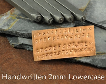 Alphabet Stamp Set - Letter Font Set - 2mm Handwritten Lowercase Font - With Storage Case - Metal Stamping
