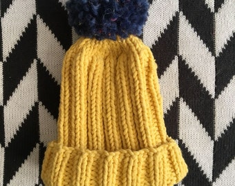 Hand knitted ribbed baby bobble hat