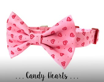Valentine's Day Dog Collar Bow Tie Set, Red and Pink Hearts Bow Tie Dog Collar: Candy Hearts
