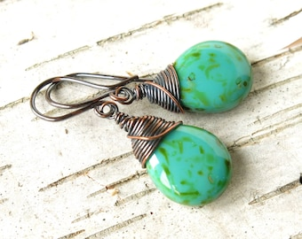 Turquoise earrings copper wire wrapped picasso Czech glass teardrop beads