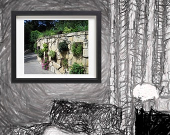 Garden in a Curved Stone Wall Print