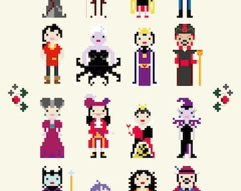 Disney Villains Cross Stitch Pixel Sampler - PDF Pattern