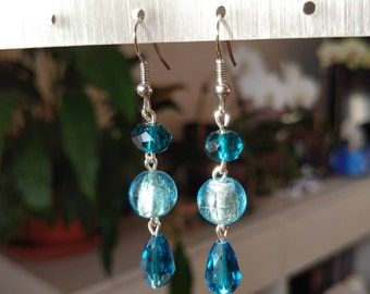 Transparent blue glass Pearl Earrings