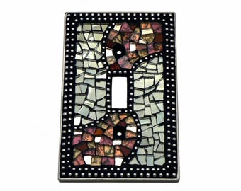 Mosaic Switch Plate - Light Switch Cover - Single Switch Plate - Burgundy Switch Plate - Silver Switch Plate - Red Switch Plate