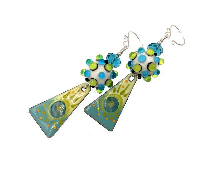 Featured listing image: Enamel Earrings, Green Blue Earrings, Lampwork Earrings, Long Drop Earrings, Drop Earrings, Artisan Earrings, Lampwork Glass Bead Jewelry